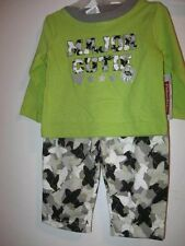 New Fisher Price Boys 2pc OUTFIT green top & airplane pants 0-3MOs & 6-9months