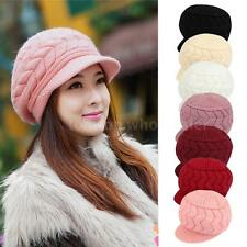 Winter Women Girls Beret Braided Baggy Beanie Crochet Knit Cap Hat New Warm EG9J