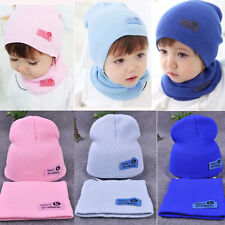 Baby Boys Girls Children Winter Cap Knitted Warm Solid Color Hat and Scarf Set