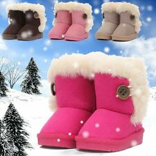Baby Girls Infant Warm Fleece Snow Boots Kids Toddler Fur Faux Suede Ankle Shoes