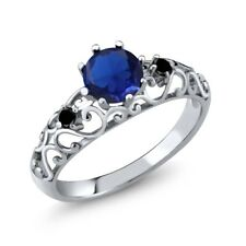 0.86 Ct Round Blue Simulated Sapphire Black Diamond 925 Sterling Silver Ring