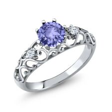 0.98 Ct Round Blue Tanzanite AAAA 925 Sterling Silver Ring