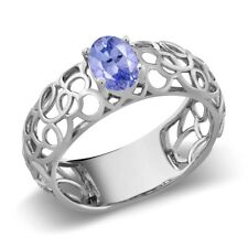 0.75 Ct Oval Cut Natural Blue Tanzanite 925 Sterling Silver Ring