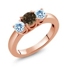 1.12 Ct Round Brown Smoky Quartz Sky Blue Topaz 14K Rose Gold Ring