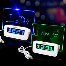 Digital Fluorescent Message Board LED Alarm Clock Thermometer New