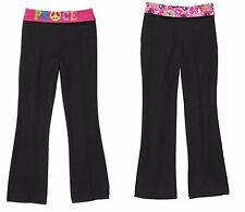 NEW Danskin Now Girls' 2 PAIR Foldover Yoga Pants Black Pink Peace XS (4/5)