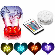 10 LED Remote Control Multicolor Submersible Party Vase Base Light Waterproof