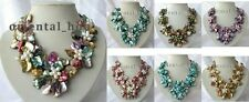 17.5 inch 7 Colors Baroque Shell Flower&Freshwater Pearl Jewelry Strand Necklace
