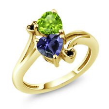 1.44 Ct Heart Shape Blue Iolite Green Peridot 18K Yellow Gold Plated Silver Ring