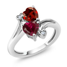 1.89 Ct Heart Shape Red Created Ruby Red Garnet 925 Sterling Silver Ring