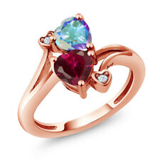 1.94 Ct Red Created Ruby Mercury Mist Mystic Topaz 14K Rose Gold Ring