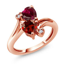 1.89 Ct Heart Shape Red Garnet Red Created Ruby 18K Rose Gold Plated Silver Ring