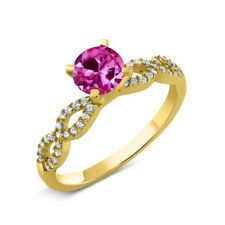 1.50 Ct Round Pink Created Sapphire 18K Yellow Gold Plated Silver Ring