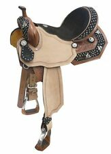 "14"" 15"" 16"" Black Suede Seat Barrel Racer Conchos Crystals SQHB Leather Saddle"