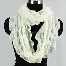 Fashion Women's Solid Color Ruffle Fluffy Long Scarf Tassel/Infinity Scarf New