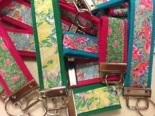 Preppy Bright Colorful Pink & Green Key Chains Fobs Flamingos Boats Flowers
