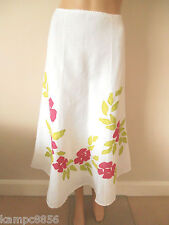 New M&S Per Una White Linen Blend Pink/Green Applique Flower Skirt Sz UK  8 & 10
