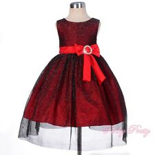 Tulle Party Holiday Wedding Flower Girl Formal Dress Red Baby Age 6m-3y FG279