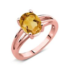 1.50 Ct Oval Yellow Citrine 14K Rose Gold Solitaire Ring