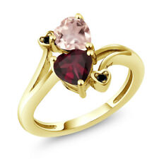 1.45 Ct Red Rhodolite Garnet Rose Rose Quartz 18K Yellow Gold Plated Silver Ring