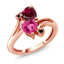 1.80 Ct Heart Shape Pink Created Sapphire Red Created Ruby 14K Rose Gold Ring