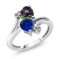1.78 Ct Blue Simulated Sapphire Green Mystic Topaz 925 Sterling Silver Ring