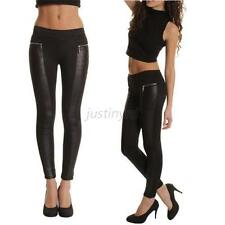 Women Faux Leather Panel Sexy Stretch Skinny Slim Leggings Pants Tight Trousers
