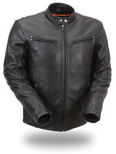 First Manufacturing Men's Apollo Black Sleek Leather Motorcycle Scooter Jacket