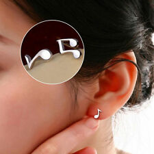 Vogue  silver plated Cute Lovely Musical Note Ear Stud Earrings Gift