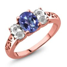 2.30 Ct Purple Blue Mystic Topaz White Topaz 18K Rose Gold Plated Silver Ring