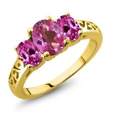 2.30 Ct Oval Pink Mystic Topaz Pink Created Sapphire 18K Yellow Gold Ring