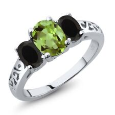 2.11 Ct Oval Green Peridot Black Onyx 925 Sterling Silver Ring