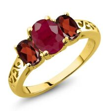 2.60 Ct Oval Red Ruby Red Garnet 18K Yellow Gold Plated Silver Ring