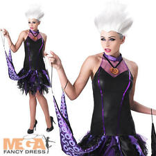 Ursula + Wig Ladies Fancy Dress Disney Little Mermaid Womens Villian Costume New