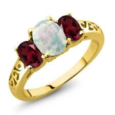 2.05 Ct Oval White Simulated Opal Red Rhodolite Garnet 18K Yellow Gold Ring