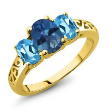 2.30 Ct Oval Royal Blue Mystic Topaz Swiss Blue Topaz 14K Yellow Gold Ring