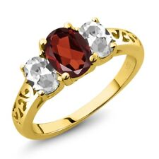 2.20 Ct Oval Red Garnet White Topaz 18K Yellow Gold Plated Silver Ring