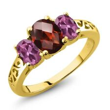 2.40 Ct Oval Checkerboard Red Garnet Pink Tourmaline 14K Yellow Gold Ring