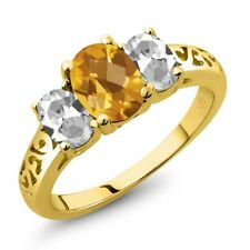 2.25 Ct Oval Checkerboard Yellow Citrine White Topaz 14K Yellow Gold Ring