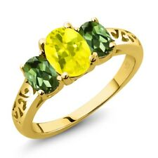 2.30 Ct Oval Canary Mystic Topaz Green Tourmaline 14K Yellow Gold Ring