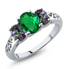 2.00 Ct Oval Green Simulated Emerald Green Mystic Topaz 925 Sterling Silver Ring