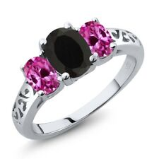 2.25 Ct Oval Black Onyx Pink Created Sapphire 925 Sterling Silver Ring