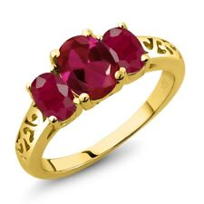2.35 Ct Oval Red Created Ruby Red Ruby 18K Yellow Gold Plated Silver Ring