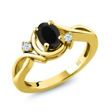 0.88 Ct Oval Black Onyx White Topaz 18K Yellow Gold Ring