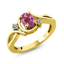 0.87 Ct Oval Pink Mystic Topaz White Diamond 18K Yellow Gold Plated Silver Ring