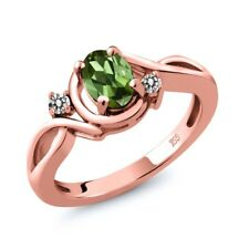 0.77 Ct Oval Green Tourmaline White Diamond 18K Rose Gold Ring