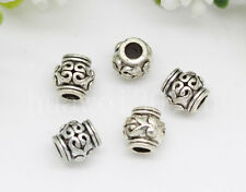 30/100/500pcs Antique Silver Barrel Beads Jewelry Charm Spacer Beads Craft 6x5mm