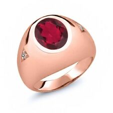 4.07 Ct Oval Ruby Red Mystic Quartz White Diamond 14K Rose Gold Men's Ring