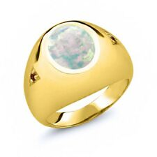 4.08 Ct Oval Cabochon White Simulated Opal Red Garnet 18K Yellow Gold Men's Ring