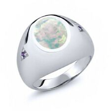 4.08 Ct Oval White Simulated Opal Purple Amethyst 14K White Gold Men's Ring